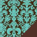 Blue Damask Fleece Fabric
