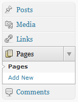 WordPress Pages Menus
