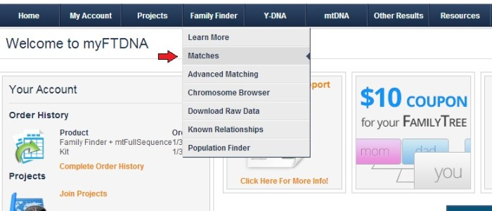 Go to the Family Finder Matches Page