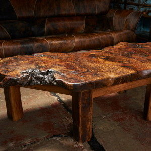 Burled oak coffee table