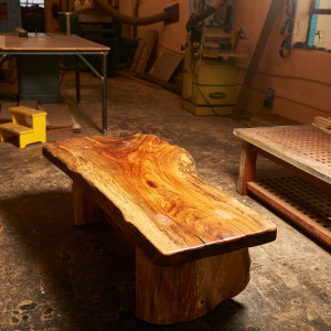 Pecan stump coffee table