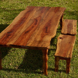 Pecan table with benches to match