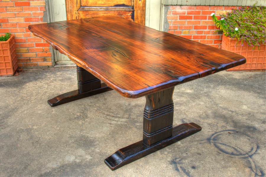 A lady brought us a picture of what she wanted her legs to look like.  With a bit of creative negotiation, this black walnut trestle table was born.  If you have an idea or want to bring us a picture, we can make something really good for you.