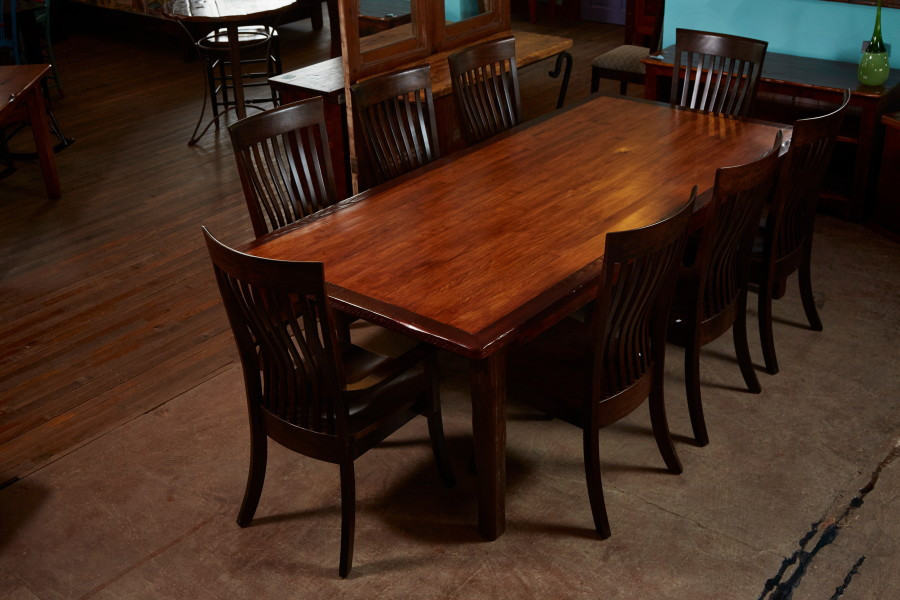 This dining table is made from new hickory flooring and old long-leaf pine.  We like the contrast between the two woods.