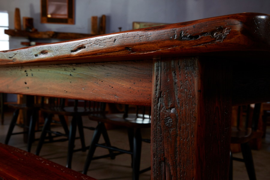 Also known as long leaf pine, the wood for this table was pulled from an old Galveston warehouse built in the 1850s.