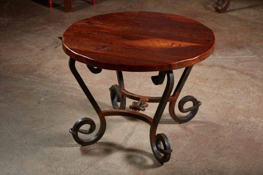 We make end tables too.  On an iron base or on a wooden one, just tell us what you are looking for.   I bet we can build you one you want.