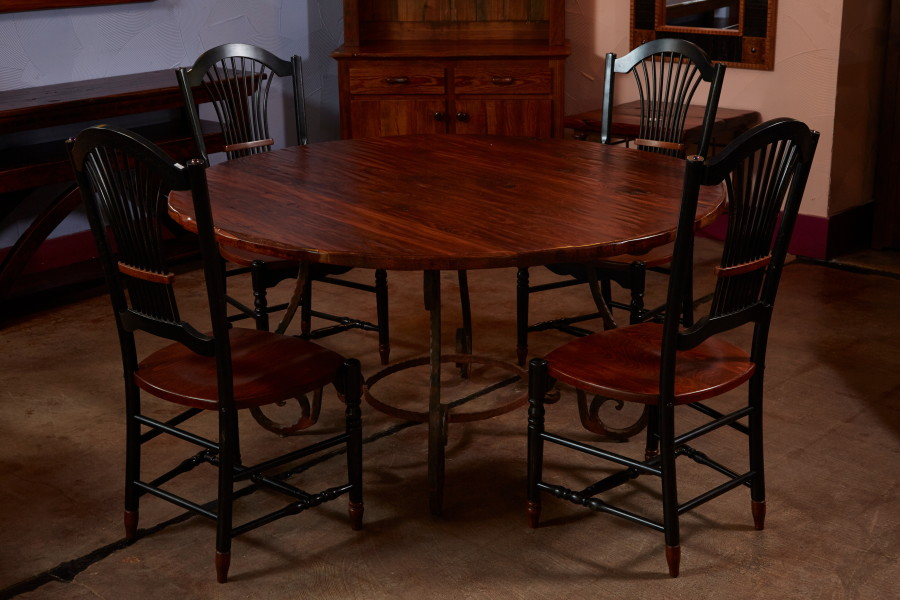 This round table is made from long-leaf pine pulled from an old house.  Hand-planed to bring out the wood's natural beauty, this table easily seats 6.
