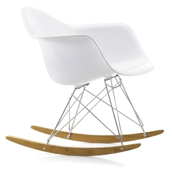 LexMod Molded Plastic Armchair Rocker in White