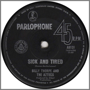 Sick And Tired b/w About Love by Billy Thorpe and The Aztecs