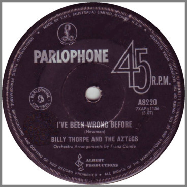 I've Been Wrong Before b/w Wee Bit More Of Your Lovin' by Billy Thorpe and The Aztecs