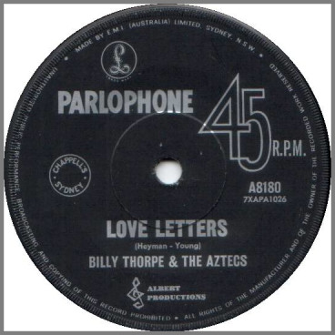 Love Letters b/w Dancing In The Street by Billy Thorpe and The Aztecs