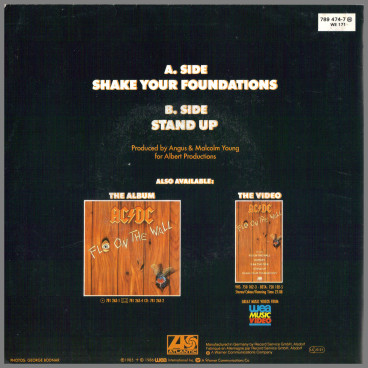 Shake Your Foundations B/W Stand Up by AC/DC