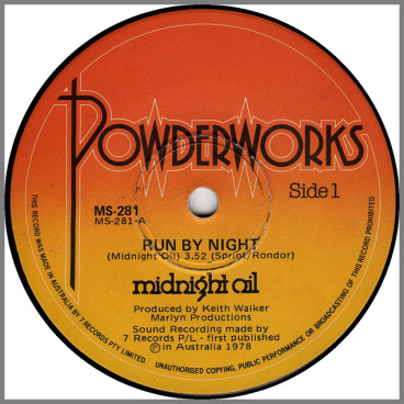 Run By Night B/W Dust by Midnight Oil