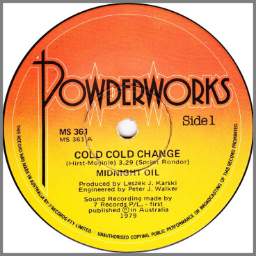 Cold Cold Change B/W Used And Abused by Midnight Oil