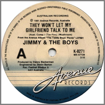 They Won't Let My Girlfriend Talk To Me B/W Brave New World by Jimmy And The Boys