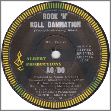 Rock 'N' Roll Damnation B/W Cold Hearted Man by AC/DC