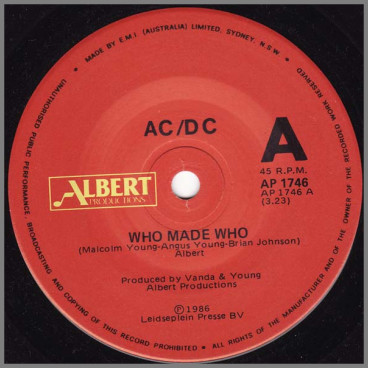 Who Made Who B/W Guns For Hire (Live Version)  by AC/DC