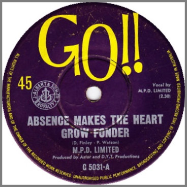 Absence Makes The Heart Grow Fonder B/W I Am What I Am by M.P.D. Limited