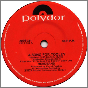 A Song For Tooley B/W Brand New Morning by Headband