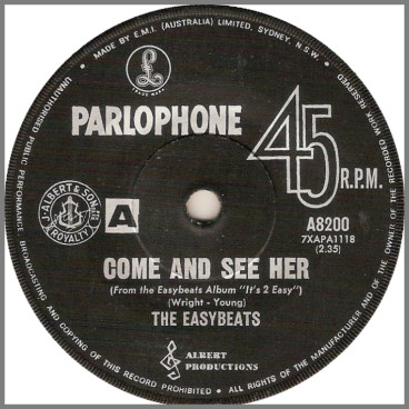 Come And See Her B/W I Can See by The Easybeats