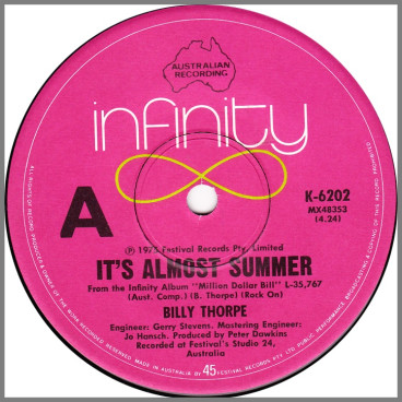 It's Almost Summer B/W Drive My Car by Billy Thorpe