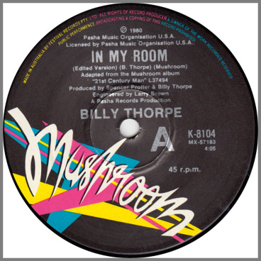 In My Room (Edited Version) B/W She's Alive by Billy Thorpe