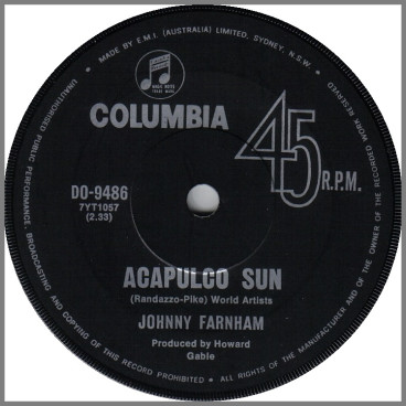 Acapulco Sun B/W As Long As Life Goes On by John Farnham