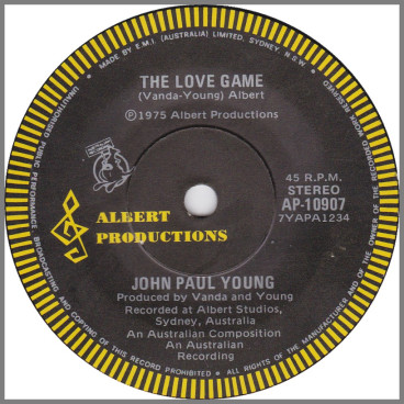 The Love Game B/W St. Louis by John Paul Young