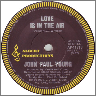 Love Is In The Air B/W Won't Let This Feeling Go By by John Paul Young