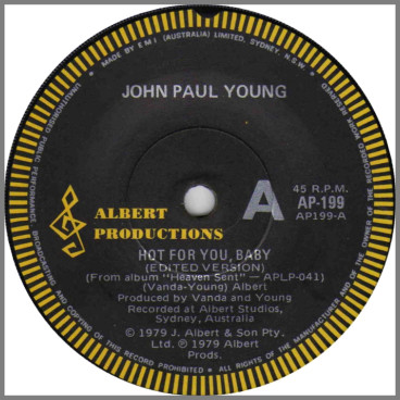 Hot For You, Baby (Edited Version) B/W I Don't Wanna Lose You by John Paul Young
