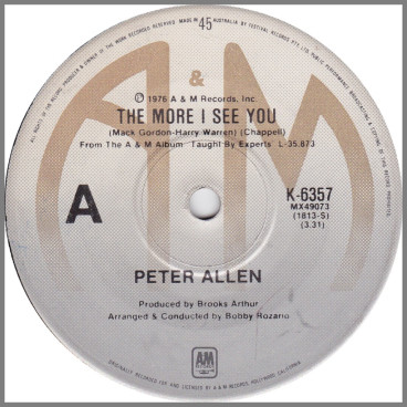 The More I See You by Peter Allen
