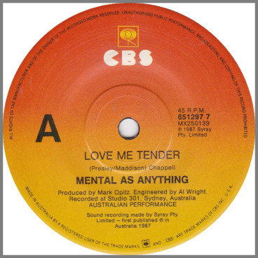 Love Me Tender by Mental As Anything