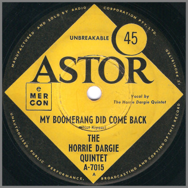 My Boomerang Did Come Back B/W Fish 'N Chips by The Horrie Dargie Quintet