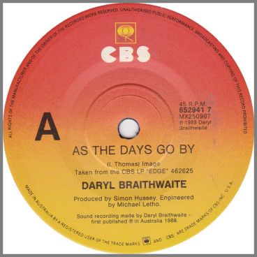 As The Days Go By by Daryl Braithwaite