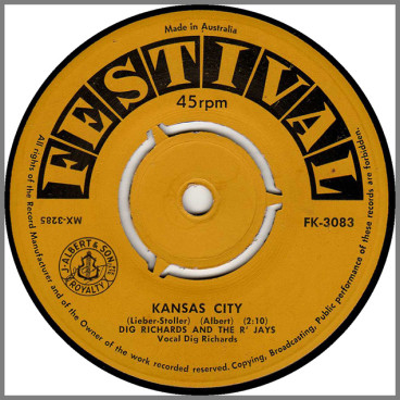 Kansas City B/W I Wanna Love You by Dig Richards