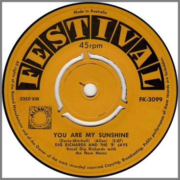 You Are My Sunshine B/W I'm Through by Dig Richards