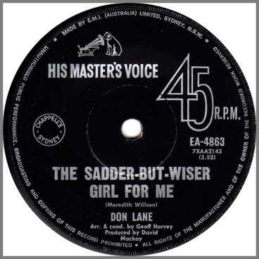 The Sadder-But-Wiser Girl For Me B/W Georgy Girl by Don Lane