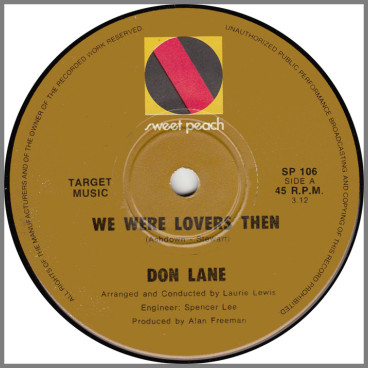 We Were Lovers Then B/W City Boy, Country Born by Don Lane