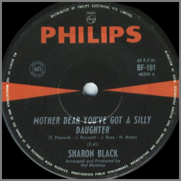 Mother Dear You've Got A Silly Daughter B/W Under The Smile Of Love by Sharon Black