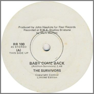 Baby Come Back B/W  Mister Record Man by The Survivors