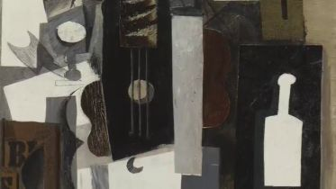 Guitar, Glass, and Bottle (picasso)