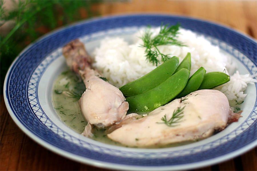 Kokt kyckling med dillsås