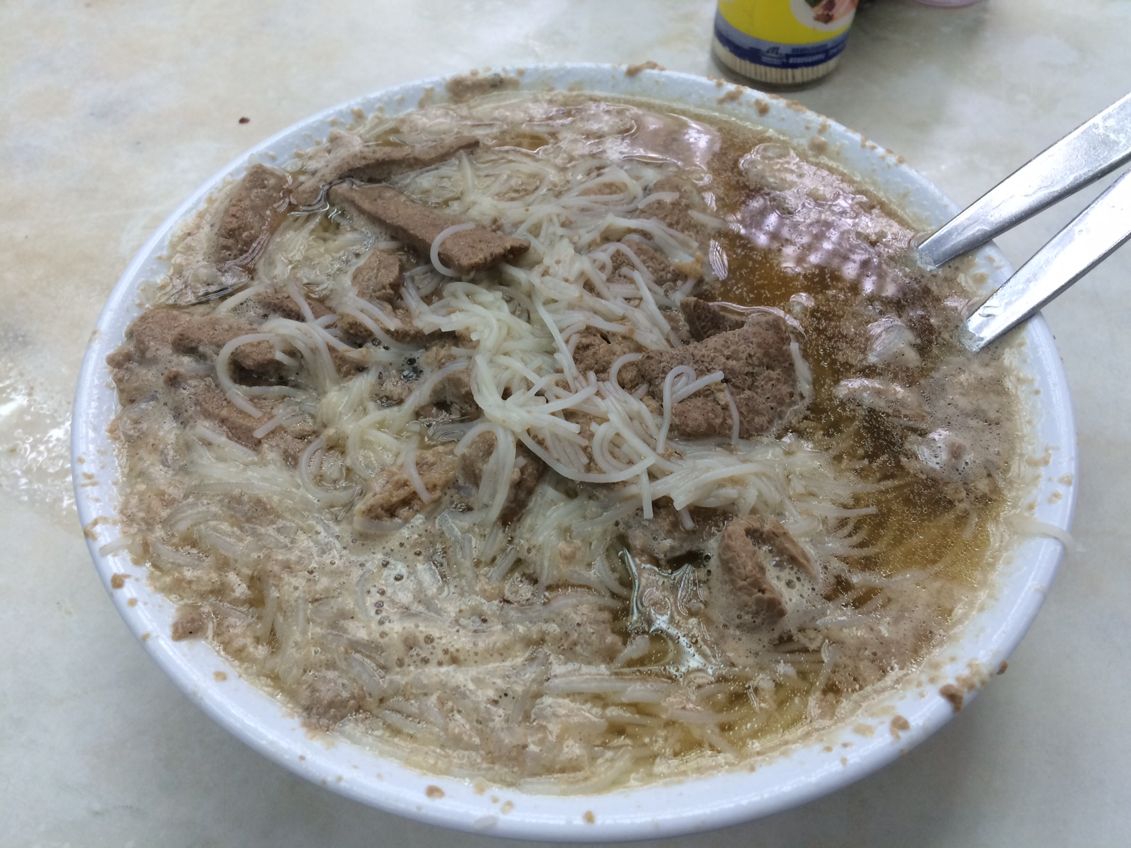 Pork liver noodle soup