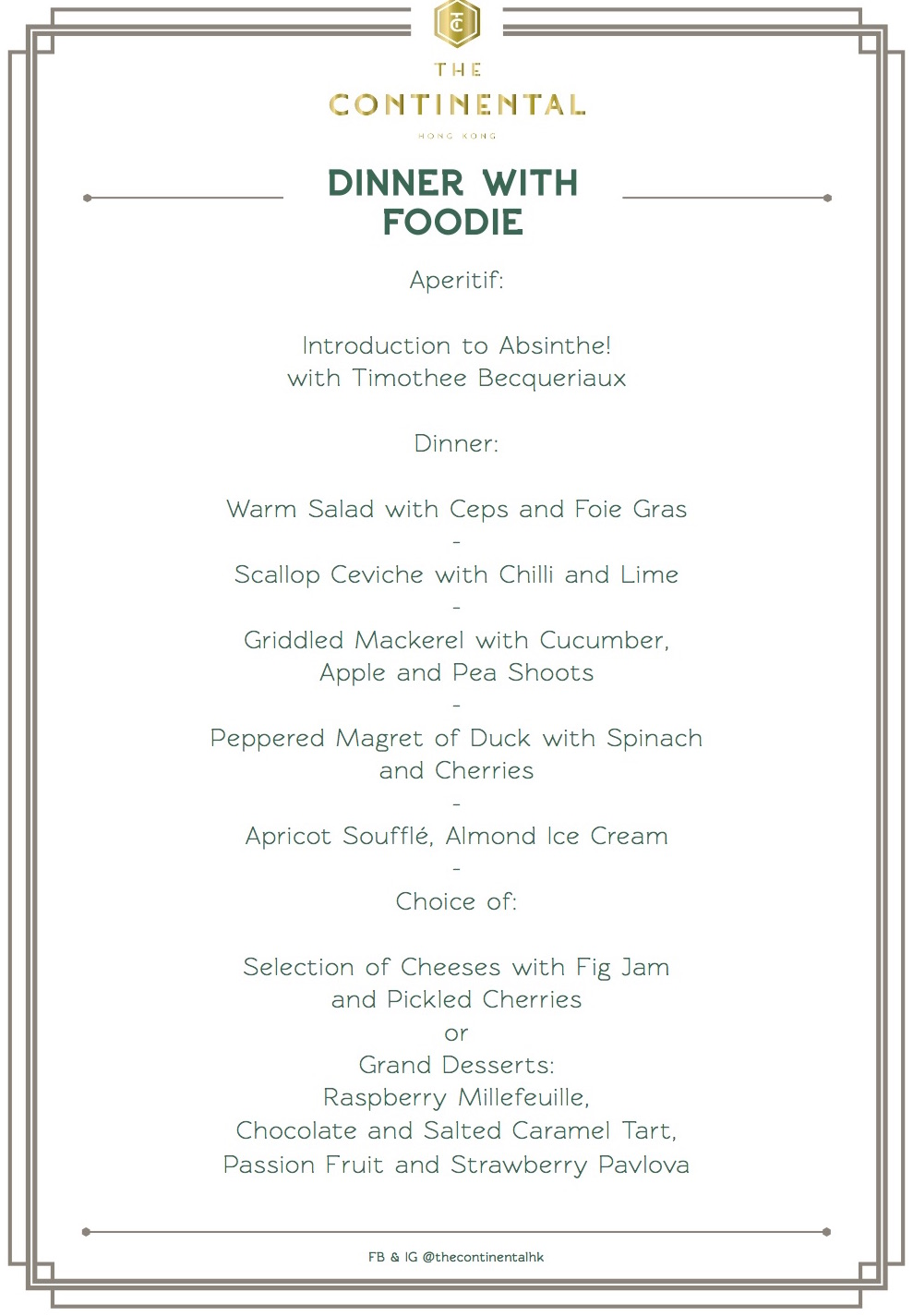 Foodie summer menu