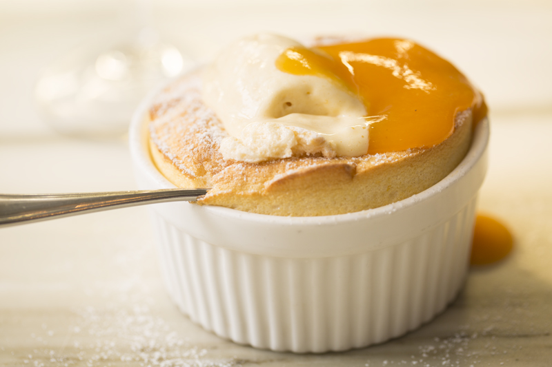 Apricot Soufflé with Almond Ice Cream