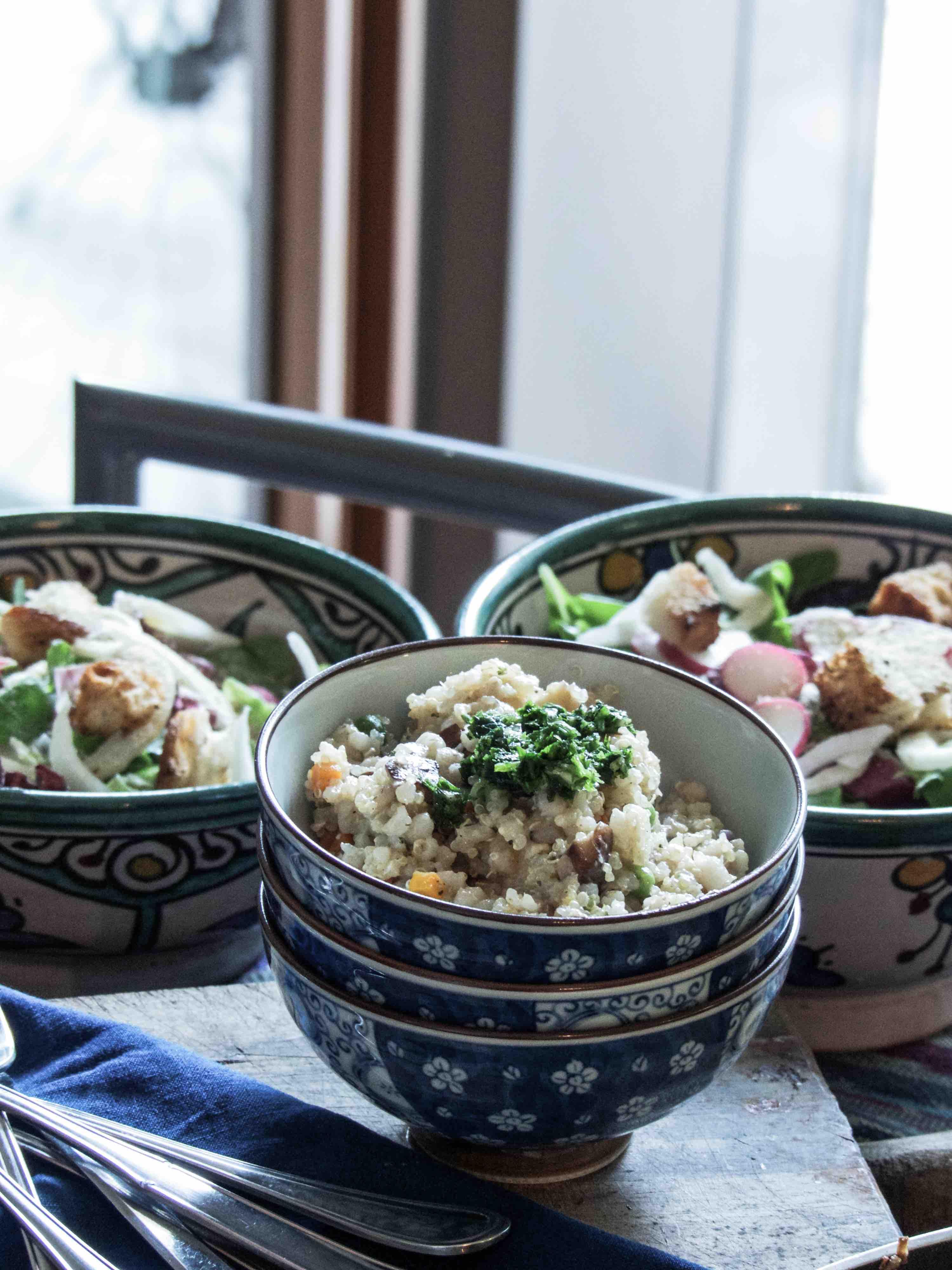 shiitake & tofu stir-fry with mixed grains
