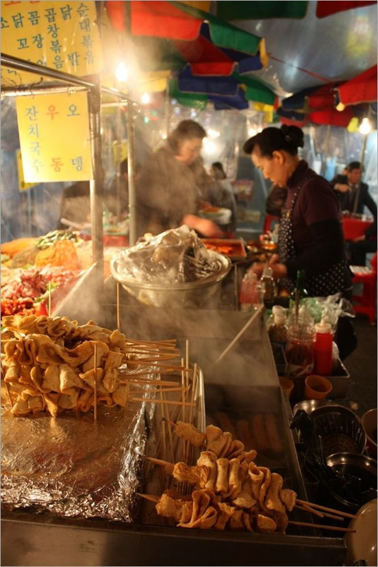 Steam Rising from Korean Street Food