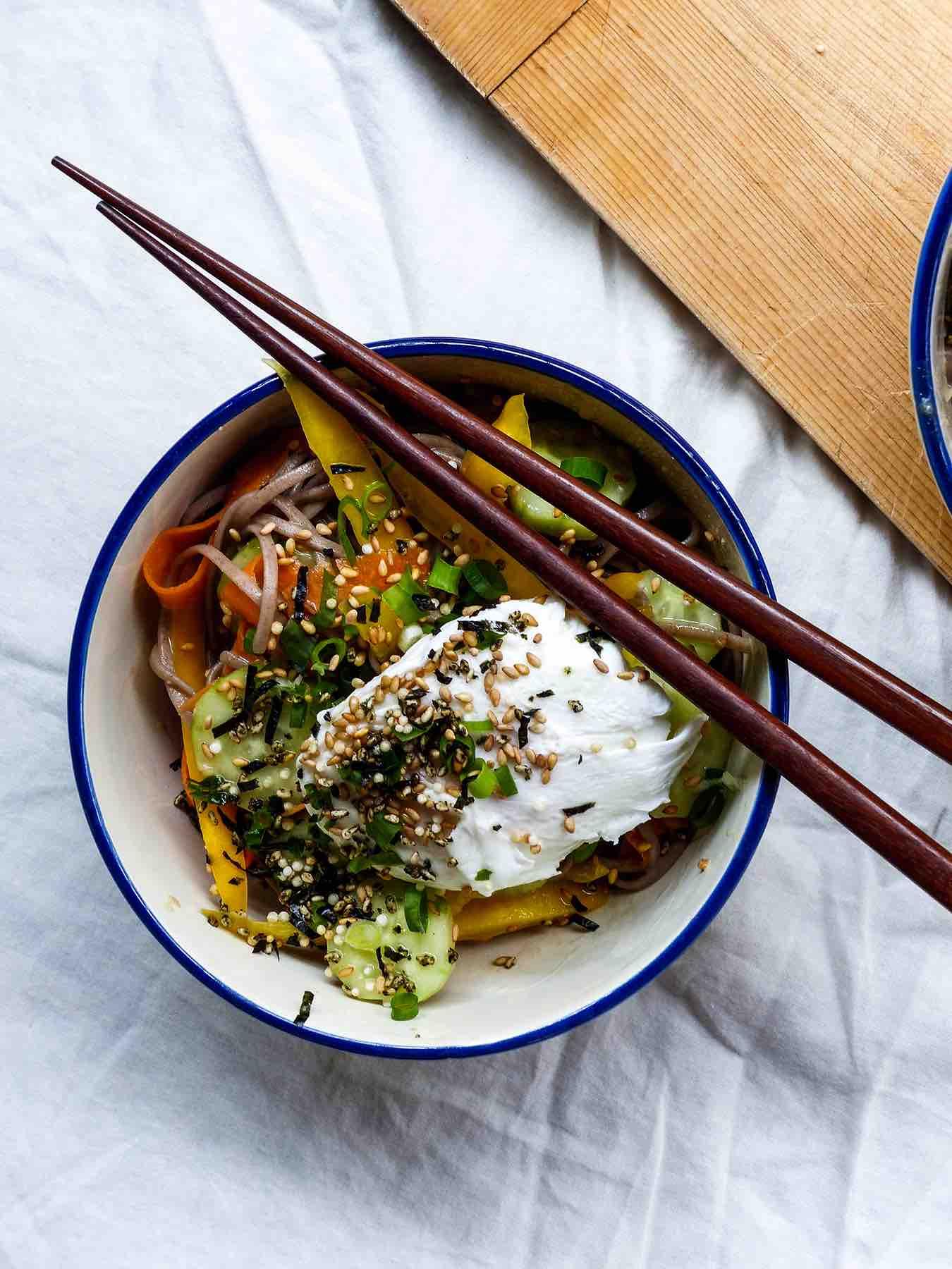 Soba Salad & Poached Egg with Furikake & Gingery Miso Vinaigrette
