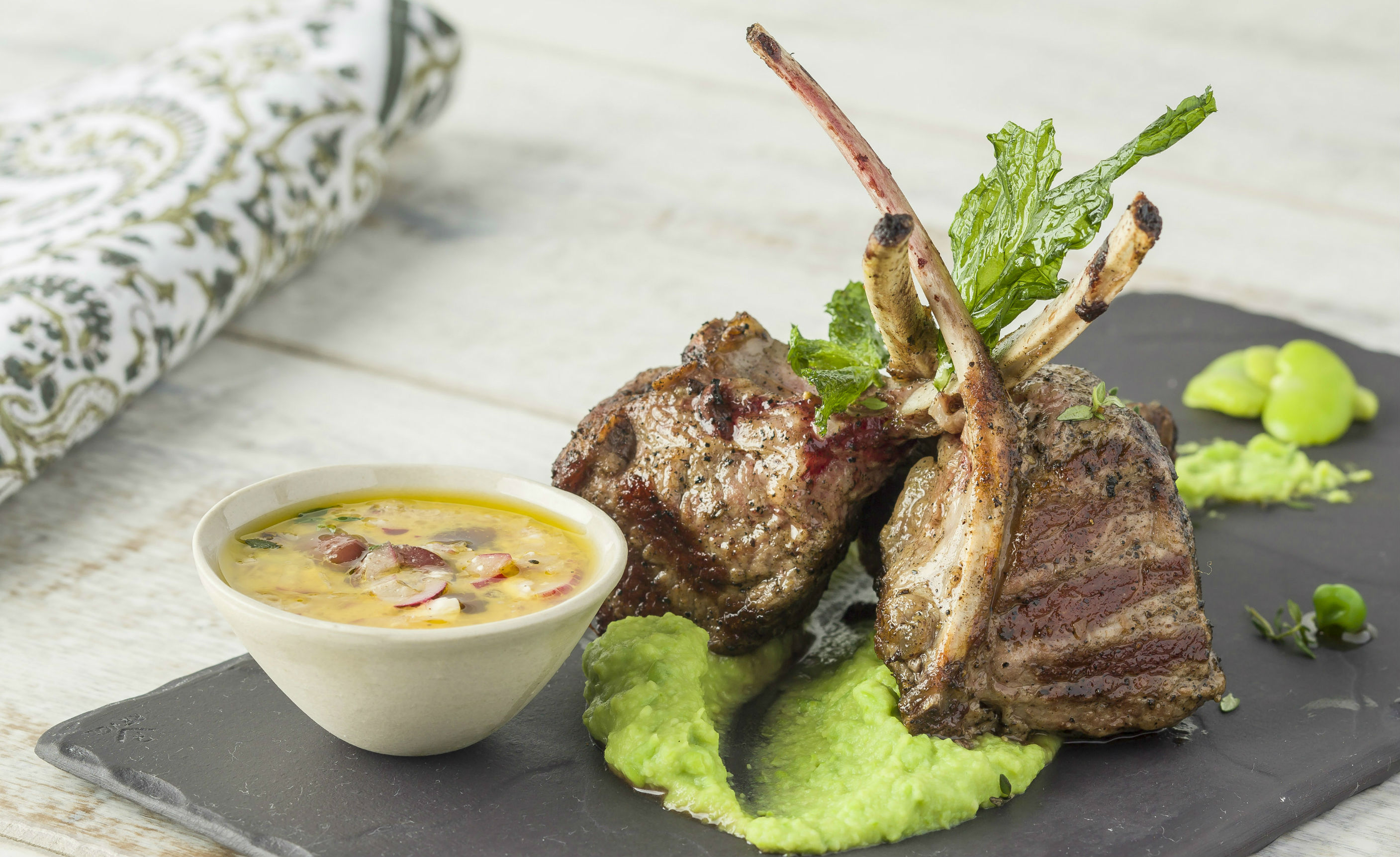 Grilled Lamb Chops with Chermoulah Dressing