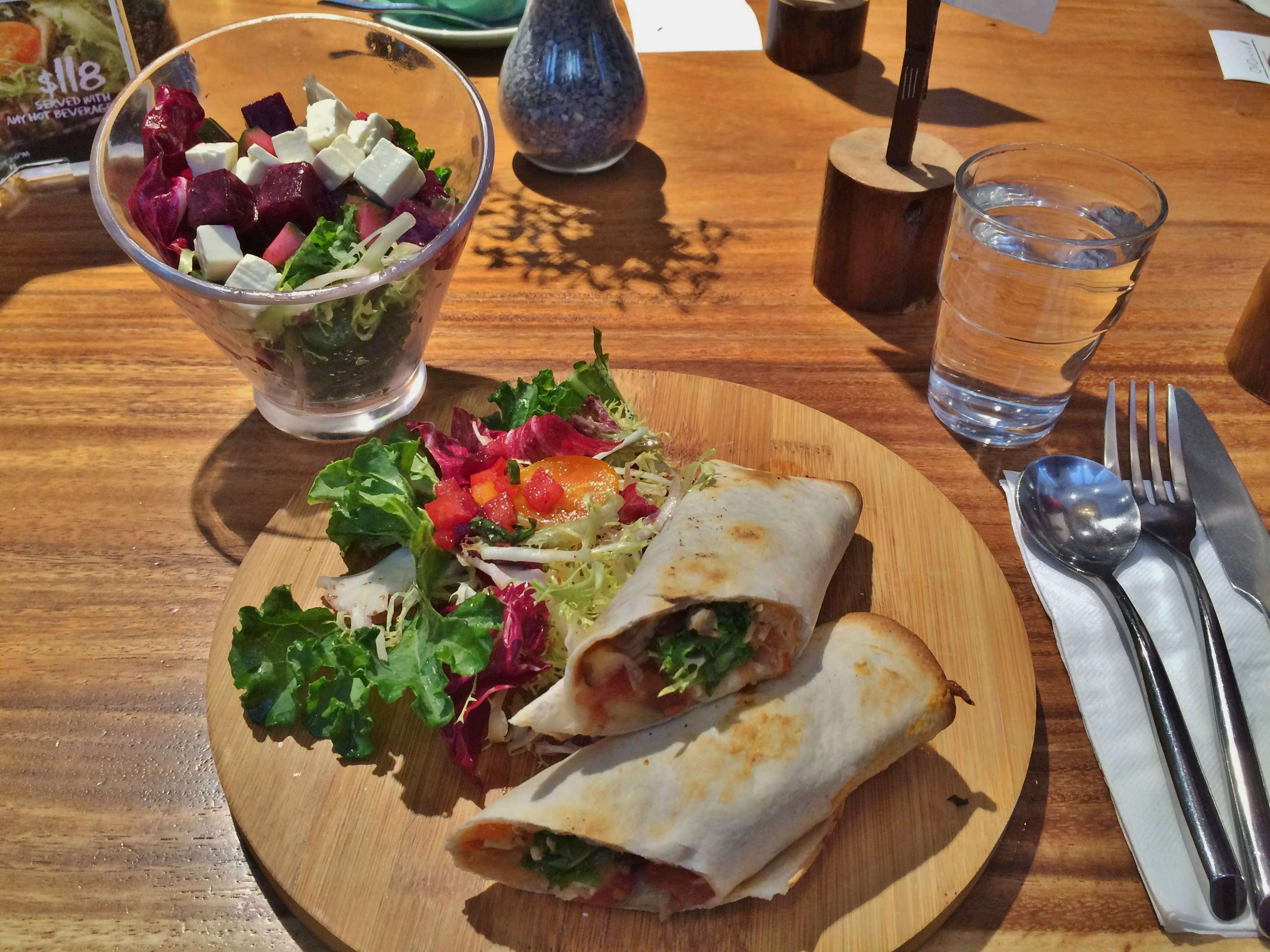 Lunch set of Mixed Vegetables wrap with Beetroot Feta Cheese Salad